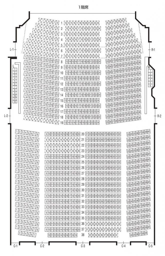 bunkamuraオーチャードホール1階の座席表