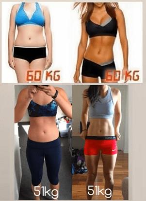トニーニング画像。同じ体重でも見た目がこんなに違う