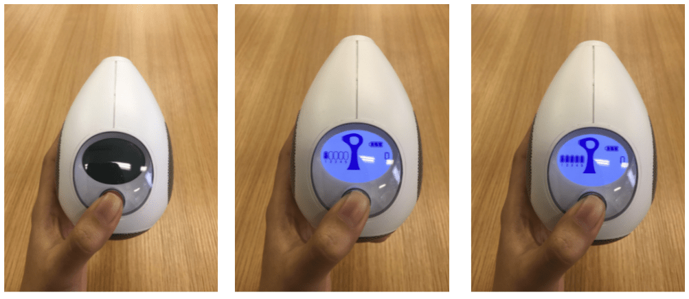 「トリア・パーソナルレーザー脱毛器4X」のボタン操作