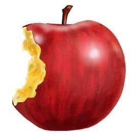 活性酸素により酸化したリンゴ